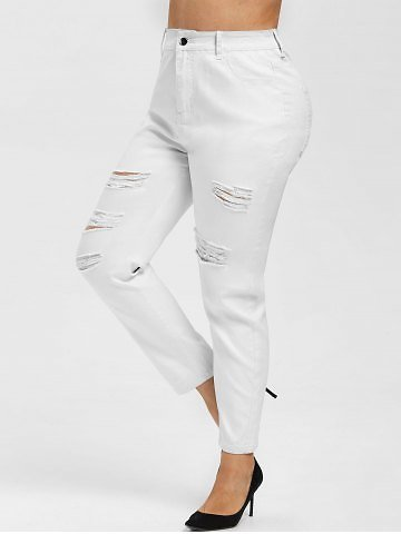 Plus Size High Waisted Ripped Pants