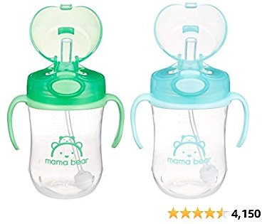 Amazon Brand - Mama Bear Weighted Straw Sippy Cup