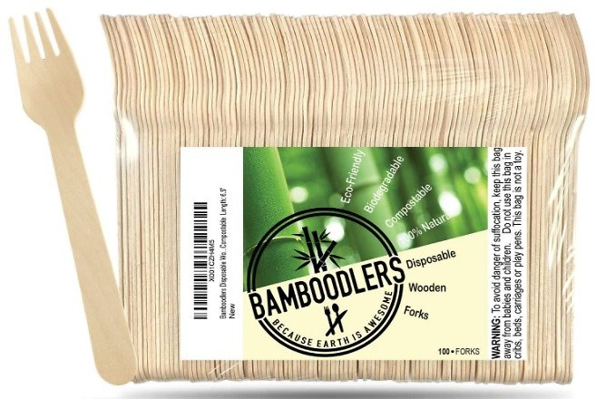 100CT Bamboodlers Disposable Wooden Forks