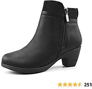 Amazon.com | Comfy Moda Women's Leather Winter Ankle Boots Office