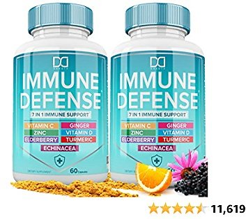 7 in 1 Immune Support Booster Supplement with Elderberry, Vitamin C and Zinc 50mg, Vitamin D 5000 IU, Turmeric Curcumin & Ginger