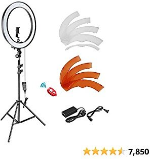 Neewer 18-inch SMD LED Ring Light Dimmable Lighting Kit with 78.7-inch Light Stand, Filter and Hot Shoe Adapter for Photo Studio LED Lighting Portrait YouTube TikTok Video Shooting (No Carrying Bag)