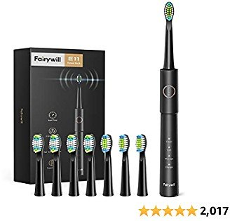 Amazon : Electric Toothbrush, Fairywill Sonic Toothbrush for Adults with 8 Dupont Bursh Heads $14.99($22.99) + Prime Shipping