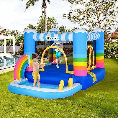 Outsunny 2-in-1 Kids Inflatable Bounce House Jump Castle w/ Trampoline & Pool