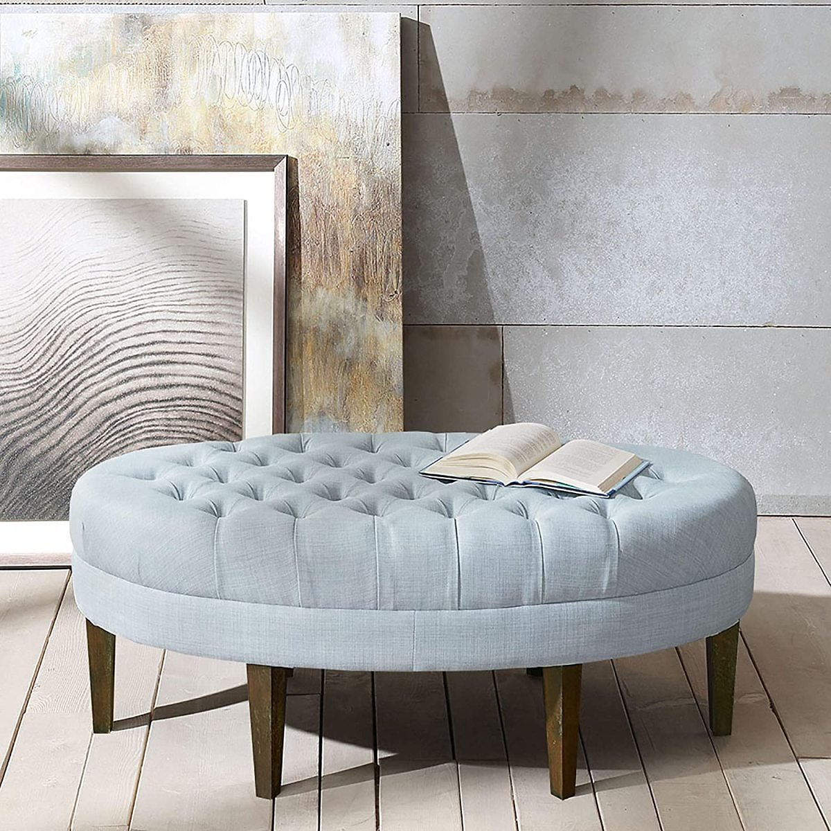 Madison Park Martin Oval Surfboard Tufted Coffee Table Ottoman , 2 Colors