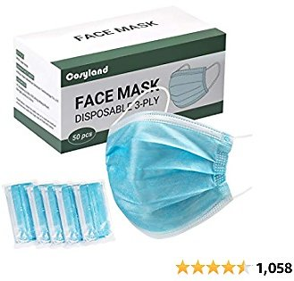 50PCS Blue Disposable Face Masks, 3-Ply Breathable Facial Mask with Elastic Earloop Mouth Nose Cover