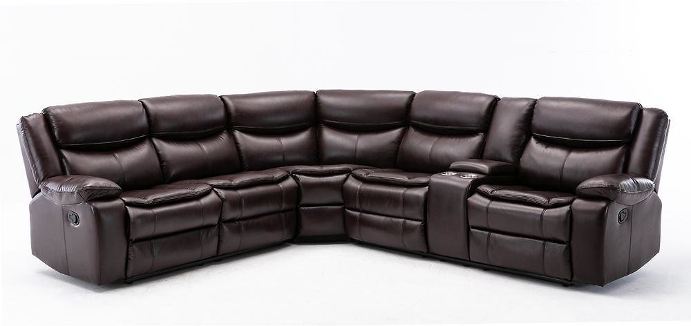 Boyel Living Mannual Motion Sofa 7 Piece Brown Faux Leather Symmetrical Sectionals with Reclining-RYS-071BL