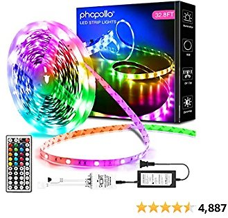 Phopollo Led Lights 32.8ft Long Led Strip Lights for Bedroom Color Changing Luces Led Para Decoracion Habitacion RGB DIY Color Option with Power Supply and Remote