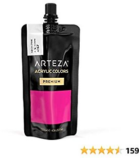 ARTEZA Acrylic Paint Neon Pink Color (120 Ml Pouch, Tube), Rich Pigment, Non Fading, Non Toxic, Single Color Paint for Artists, Hobby Painters & Kids