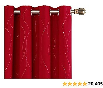 Deconovo Red Blackout Curtains and Drapes Wave Line with Dots Printed Window Treatment Sets Curtains for Bedroom 52 X 54 Inch Red 2 Panels