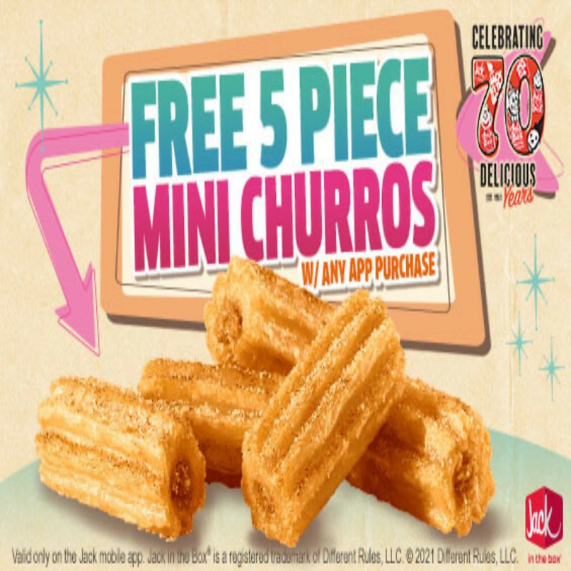 Free 5PC Mini Churros W/Any App Purchase.