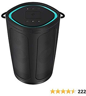 Altec Lansing IMW899 Soundbucket XL | Rugged Portable Waterproof Snowproof Wireless Bluetooth Speaker, Built-in QI Wireless Charging, Illuminating LED Lights (Black)