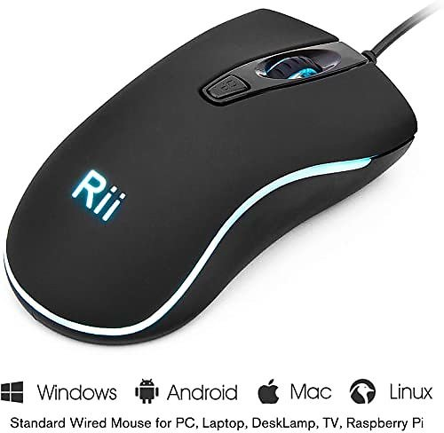 Rii RM105 Wired Mouse,Computer Mouse with Colorful RGB Backlit