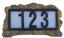 Exclusive! Solar Powered Illuminated LED House Number Rock Display