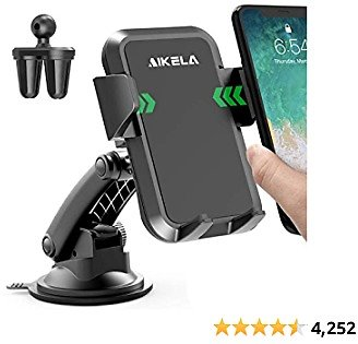 AIKELA Car Phone Mount, 3 in 1 Cell Phone Holder for Car Dashboard Windshield Air Vent with Washable Strong Sticky Gel Suction Pad, One-Click Release Button, Compatible with IPhone, Samsung, LG, Moto