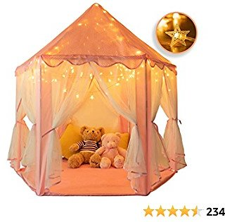 Rettebovon Princess Castle Tents Kids' Fairy Play Tents Girls Toys Hexagon Playhouse with Star Lights Toys for Children Indoor or Outdoor Game Girls Gift