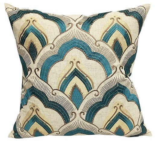 Taupe & Teal Arabesque Embroidered Throw Pillow