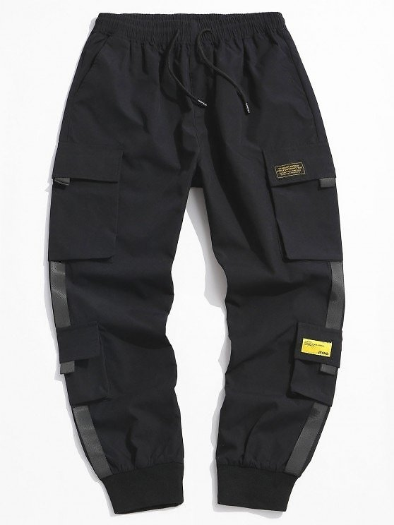 Letter Appliques Cargo Pants ARMY GREEN BLACK LIGHT GRAY