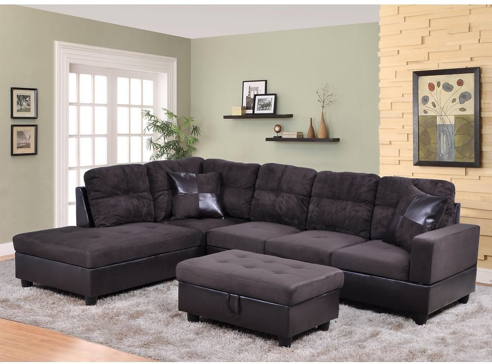 Sectional Sofa_AYCP Furniture_ 3pcs L-Shape Sectional Sofa Set, Left Hand Facing Chaise, Microfiber & Faux Leather