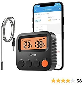 Govee Smart Meat Thermometer, Bluetooth Grill Thermometer with 1 Probe, Backlight Screen, 230ft Remote Monitoring, Smart Alert Notification for BBQ Smoker Oven