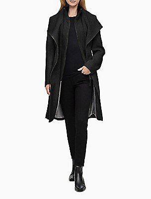 Heathered Double Layer Belted Coat | Calvin Klein