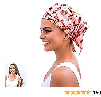 Luxury Eco Shower Cap For Women - Made From 100% Recycled Materials. Stylish, Sustainable, Cute Reusable Shower Cap. Perfect Eco Friendly Gift (Tiger)