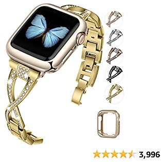 JFdragon Watch Bands Compatible with Apple Watch 38mm 40mm 42mm 44mm SE Series 6 5 4 3 2 1 Women Jewelry Metal Wristband Strap with Bling Diamond Replacement Bracelet (Gold, 42mm/44mm)