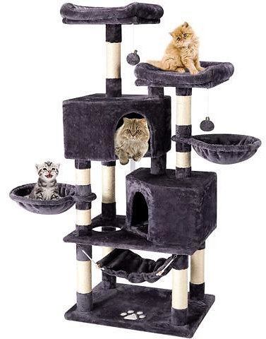 Multi-Level Cat Tree Tower Condo with Cat Scratching Post Cozy Hammock Basket Hideaway House and Platforms, Kitty Activity Center Kitten Play House, Large Cat Tower Furniture - Newegg.com