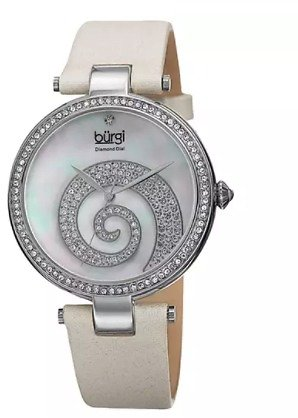 Burgi Women's Quartz Diamond Crystal Leather Strap Watch BURGP143