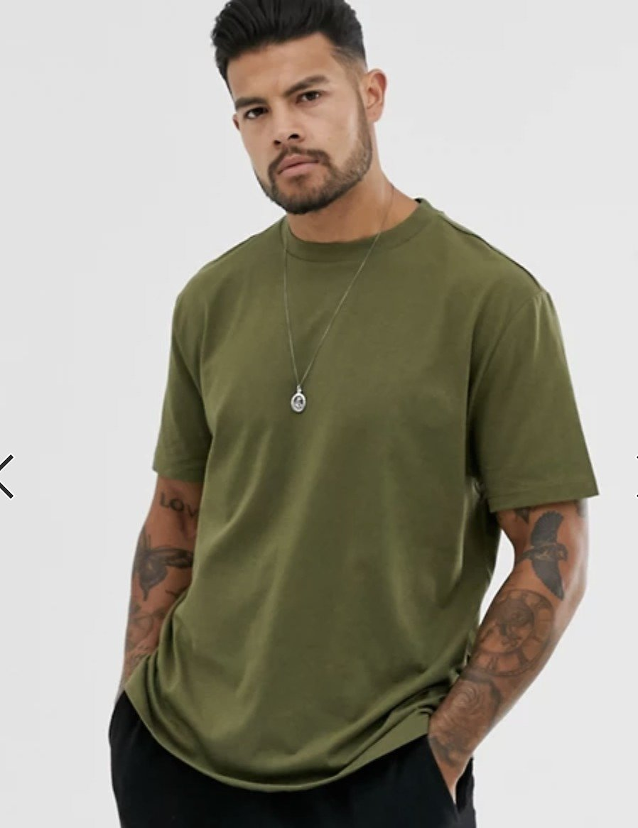ASOS DESIGN Organic Relaxed T-shirt with Crew Neck in Khaki