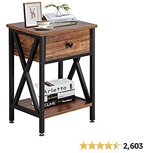 14% Off VECELO Modern Versatile Nightstands X-Design Side End Table Night Stand Storage Shelf with Bin Drawer for Living Room Be