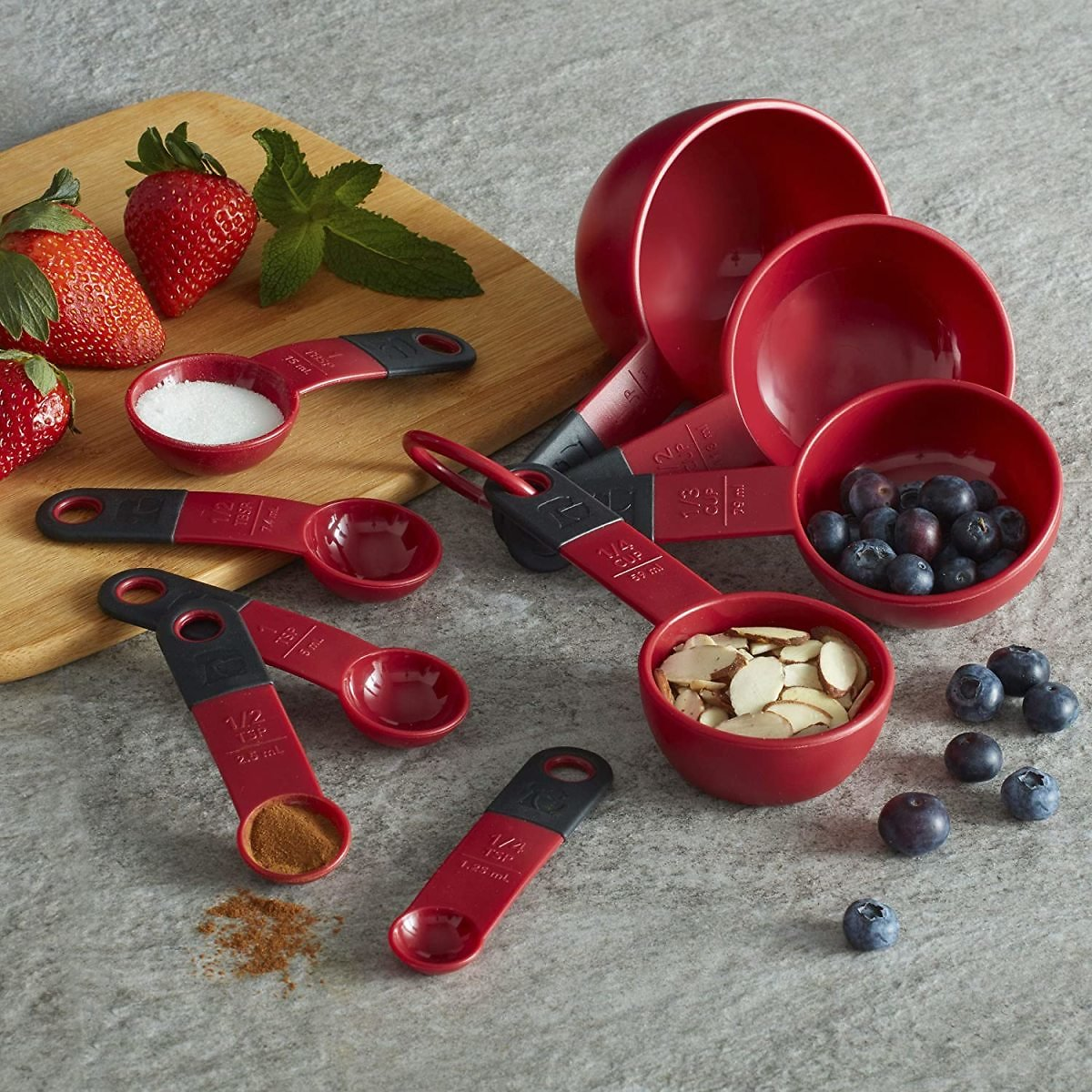 KitchenAid Classic Measuring Cups And Spoons Set, Set of 9, Red/Black