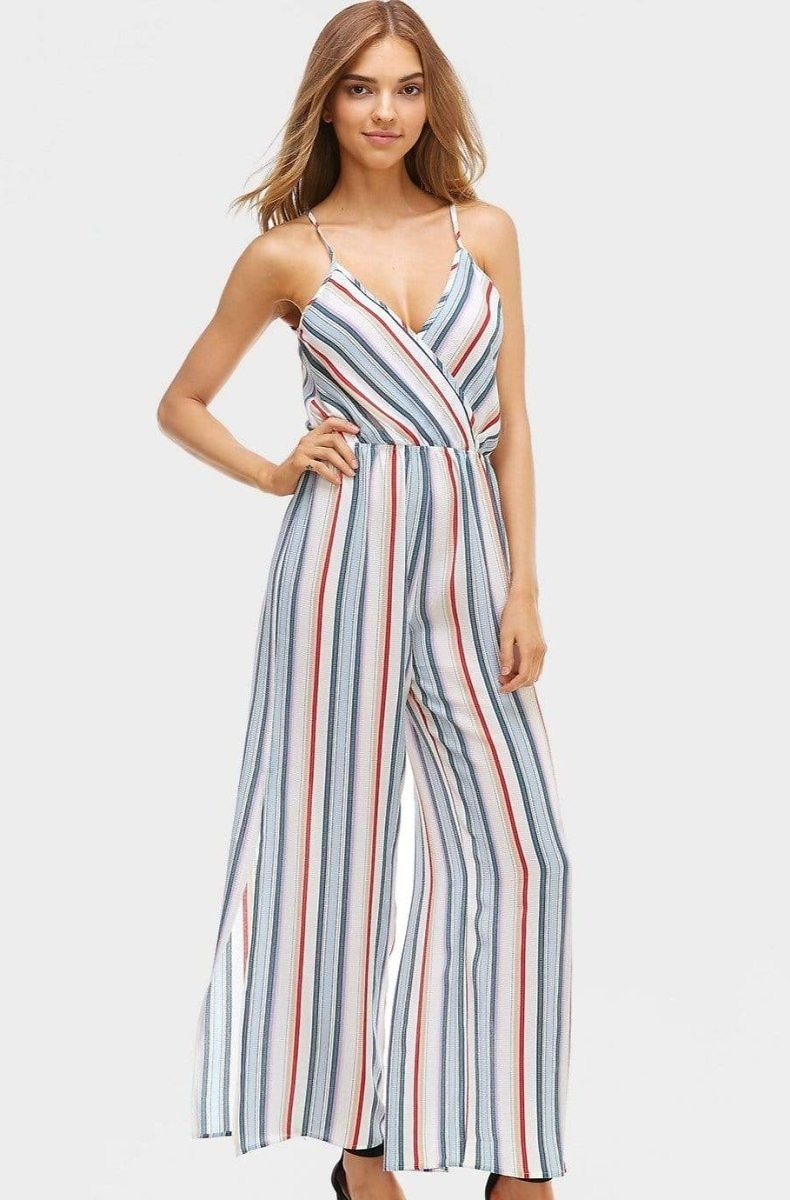 Striped Slit Pant Jumpsuit in White