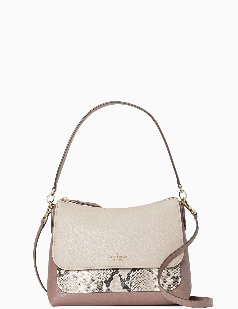 Melody Mixed Material Flap Shoulder Bag