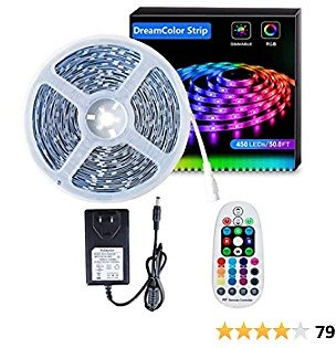 DreamColor LED Strip Lights 50ft/15m SELIAN 5050 LED Lighting Strips RGB Flexible Rope Light with 24V Power Supply Non-Waterproof LED Strip Light for Home Indoor Decoration