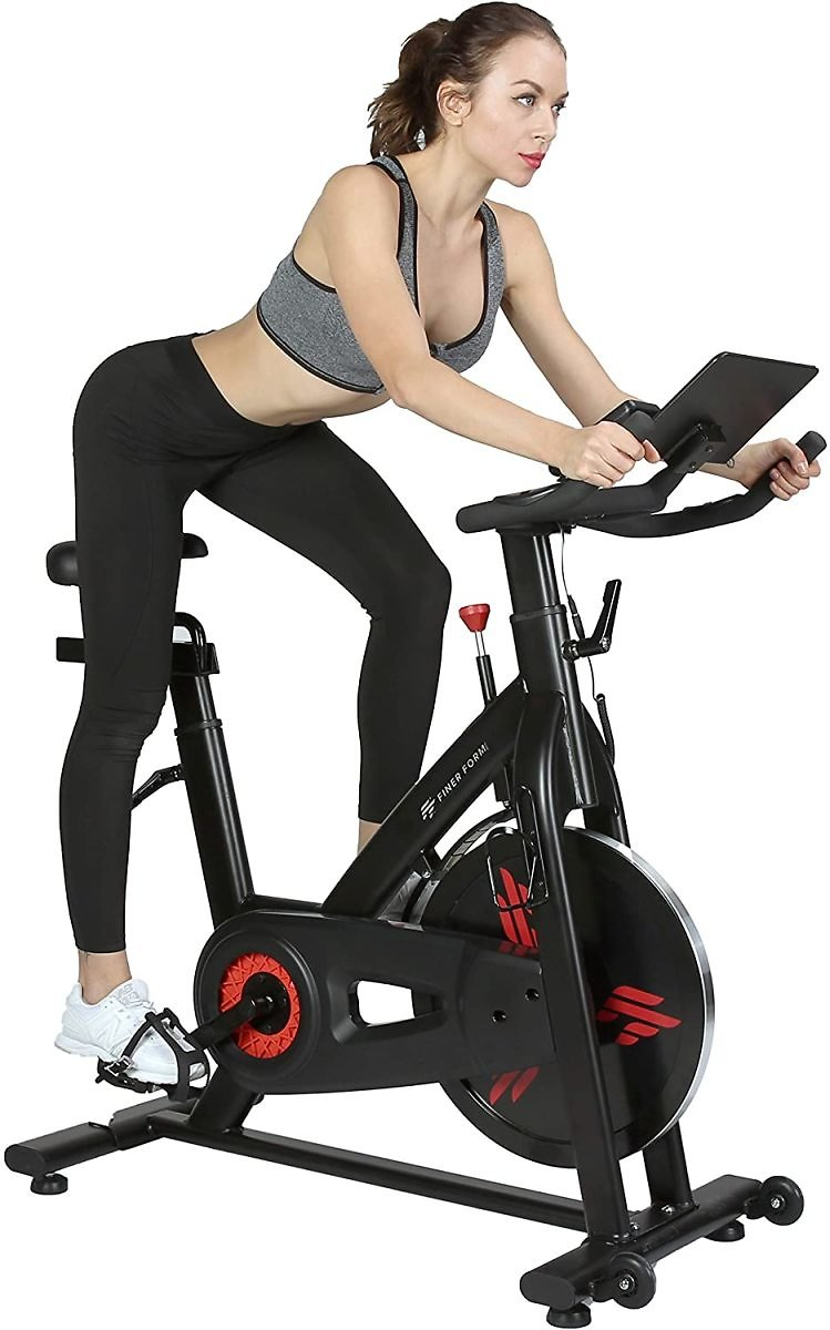 Indoor Exercise Bike with 35 Lb Flywheel Belt-Driven Stationary Bike - Tablet IPad Holder, LCD Monitor, Cadence Readi
