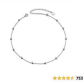 Sterling Silver Jewelry Choker Necklace Pendant Disc Chain Statement Necklace For Women Girls 13+3 Inches
