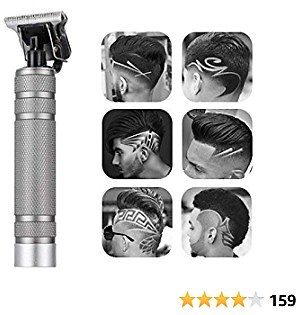 Professional Electric Clippers, 0mm Baldheaded Hair Clippers Barber Accessories Grooming Cordless Rechargeable Close Cutting T-Blade Trimmer Haircutting Kit Beard Shaver Barbershop (silver)