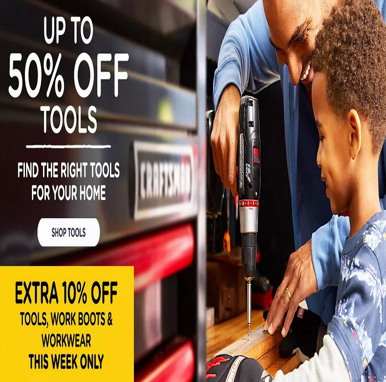 Up to 50% Off Tools & Work Sale +Extra 10%Off