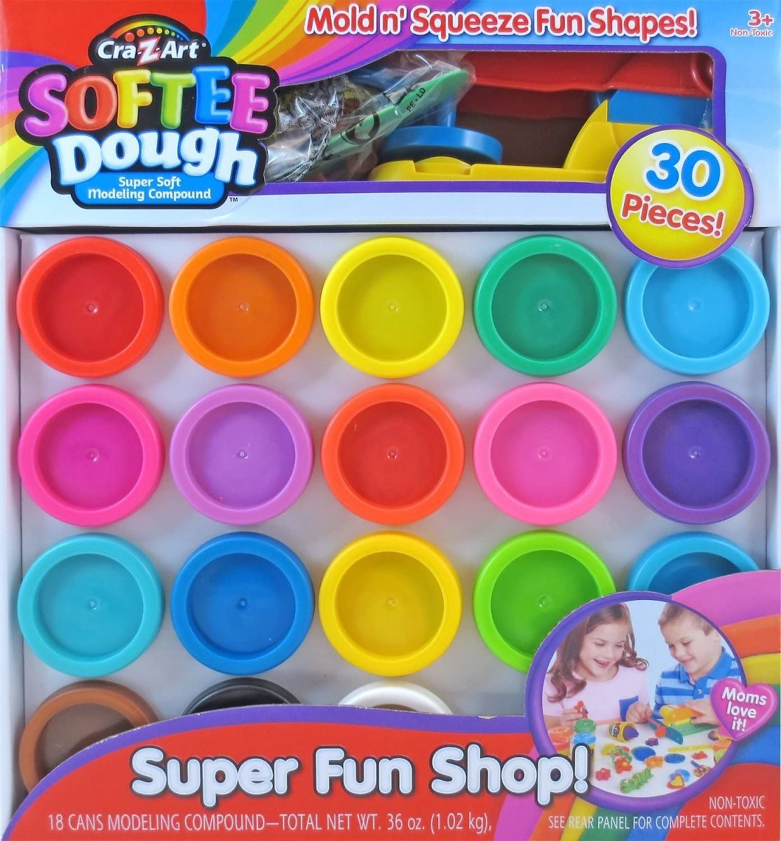 30 Pcs - Super Rainbow Softee Dough Color Pack Set