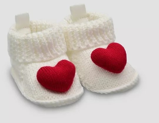 Baby Girls' Valentine's Day Heart Knit Slippers - Just One You® Made By Carter's White Newborn