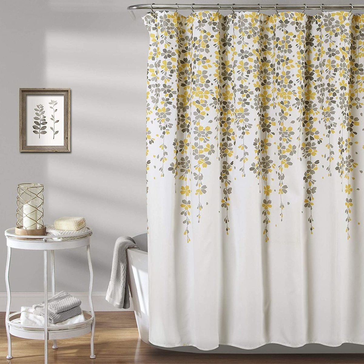 "Lush Decor Weeping Flower Shower Curtain - Fabric Floral Vine Print Design, 72"" X 72"", Yellow & Gray"