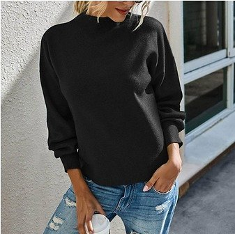 Transer Women Fashion Solid Color High Collar Long Sleeves Socket Sweater Tops