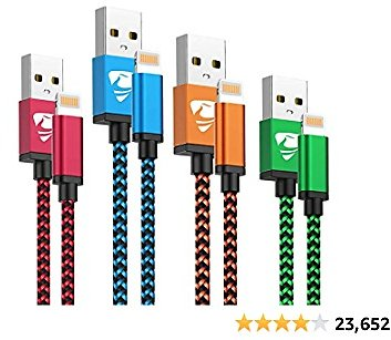 4-Pack IPhone Charger Cord Aioneus Lightning Cable Fast Charging Cable