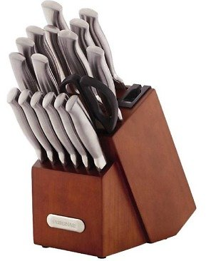Farberware EdgeKeeper® Professional 18-Piece Forged Hollow Handle Stainless Steel Knife Block Set with Built-In EdgeKeeper®\xc2\