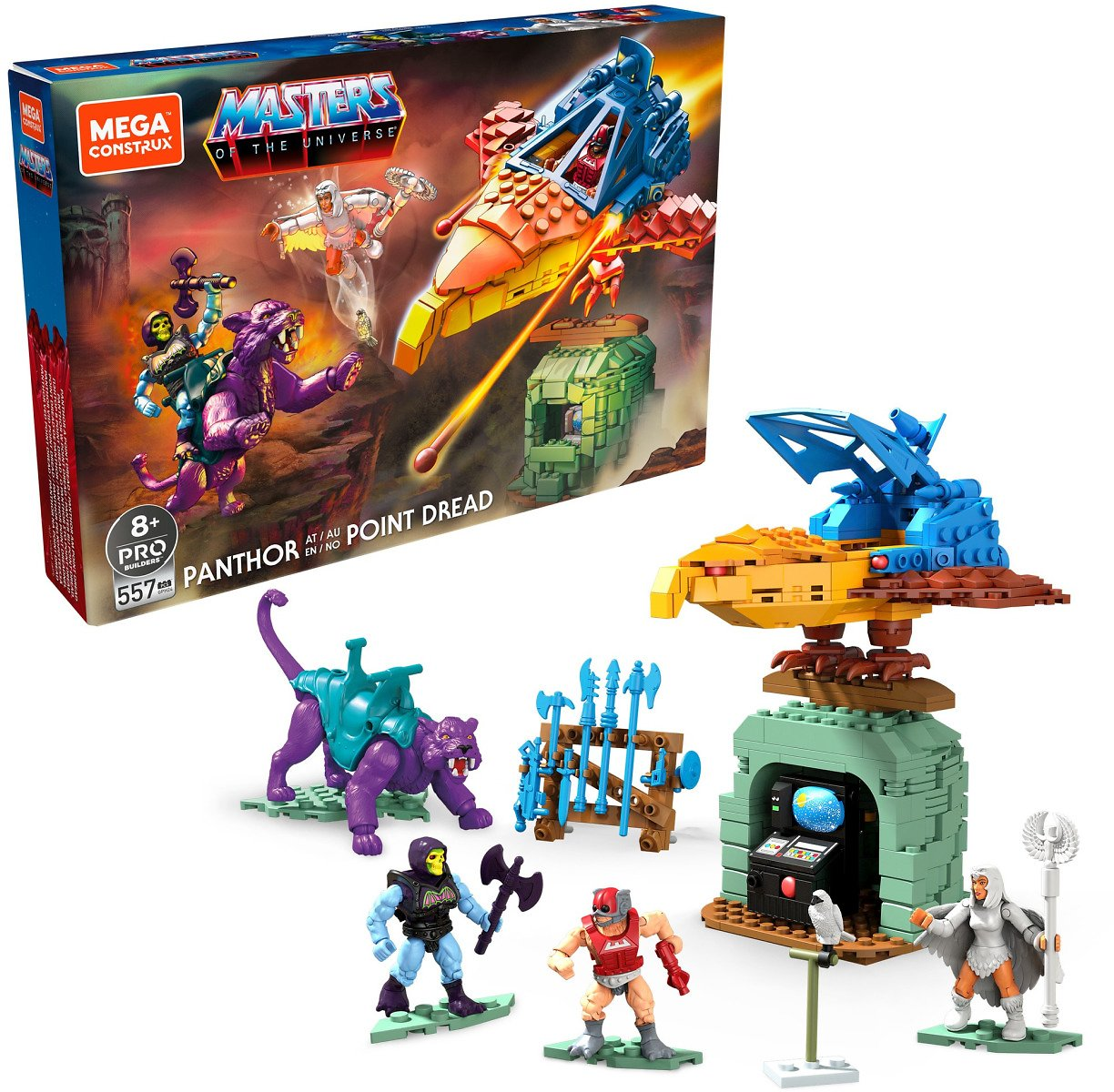 Mega Construx Masters of The Universe Panthor At Point Dread Construction Set with Micro Action Figures, Building Toys for Kids