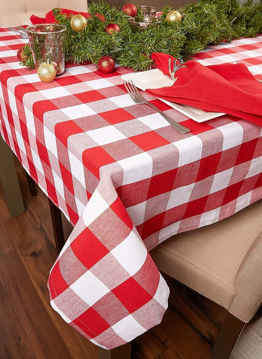 DII Buffalo Check Collection Classic Tabletop, Tablecloth, 60x104, Red & White