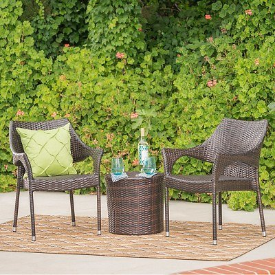 Oxford 3pc Wicker Chat Set, Multibrown