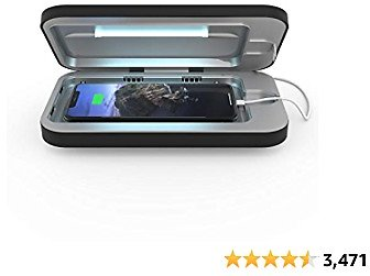 PhoneSoap 3 UV Smartphone Sanitizer & Universal Charger | Patented & Clinically Proven UV Light Disinfector | (Black)