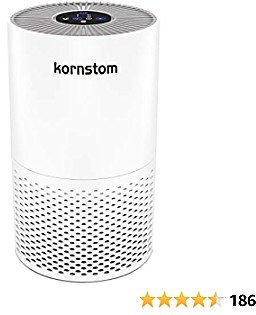 Kornstom Air Purifier for Home Pollen Allergies and Smokers in Bedroom,Remove 99.99% Smoke Dust Pollen,H12 True HEPA Filter, 4 Purification Modes,Blue Night Light, No Ozone